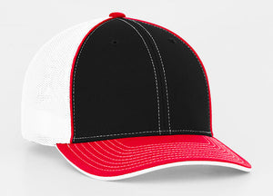 Black/Red Pacific 404M Universal Trucker Mesh Hat