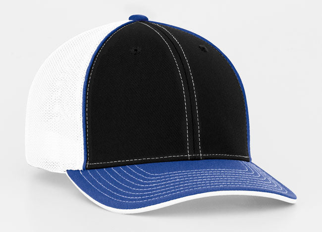 Black/Royal Pacific 404M Universal Trucker Mesh Hat