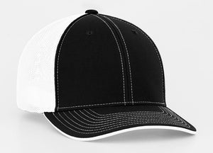 Black/White Pacific 404M Universal Trucker Mesh Hat