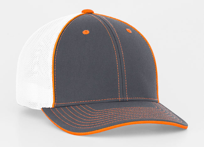 Graphite/White/Neon Orange Pacific 404M Universal Trucker Mesh Hat