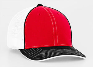 Red/Black Pacific 404M Universal Trucker Mesh Hat