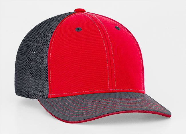 Red/Graphite Pacific 404M Universal Trucker Mesh Hat