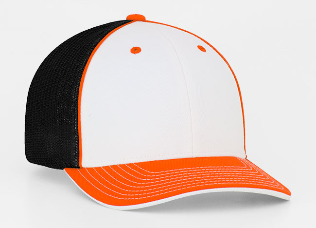 White/Orange/Black Pacific 404M Universal Trucker Mesh Hat