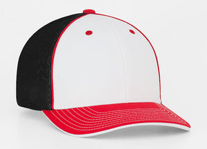 White/Red/Black Pacific 404M Universal Trucker Mesh Hat
