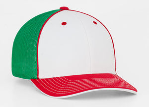 White/Red/Kelly Pacific 404M Universal Trucker Mesh Hat