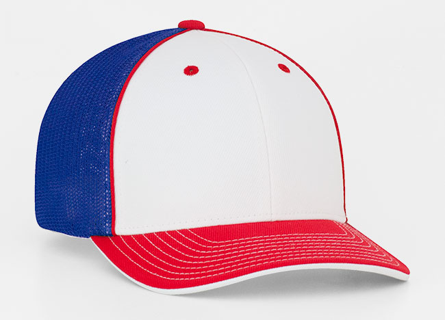 White/Red/Royal Pacific 404M Universal Trucker Mesh Hat