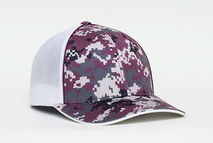 Maroon Pacific 408M Digital Camo Trucker Mesh