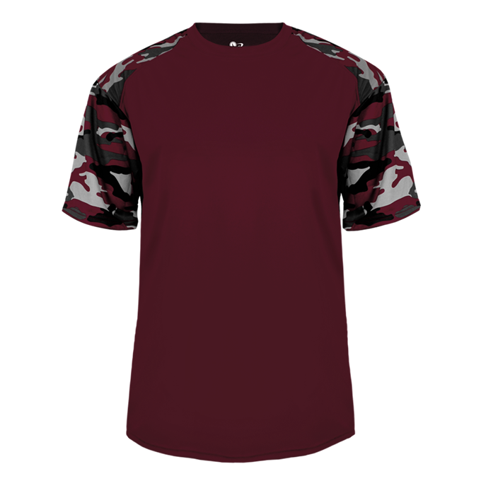 Maroon/Maroon Badger 2141 Camo Sport Youth Tee