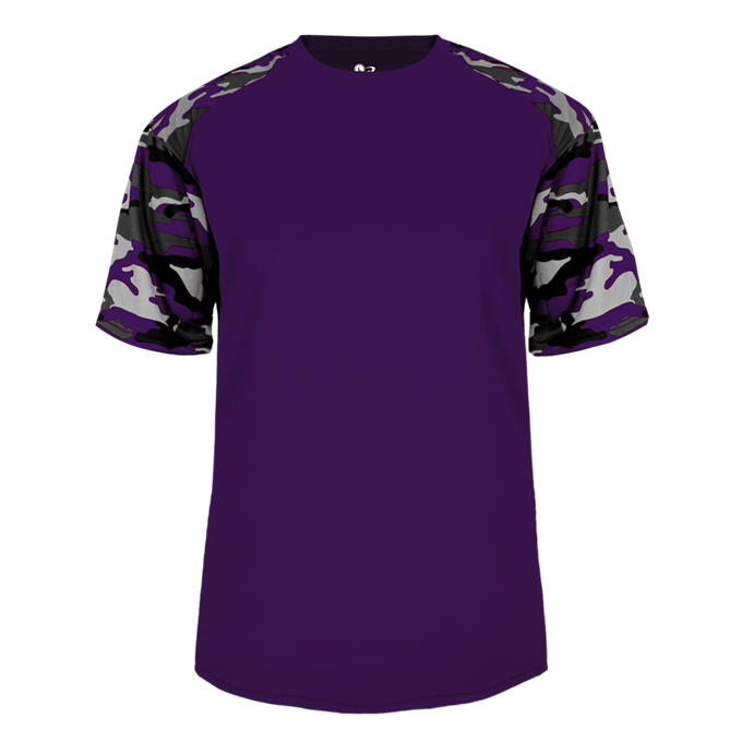 Purple/Purple Badger 2141 Camo Sport Youth Tee