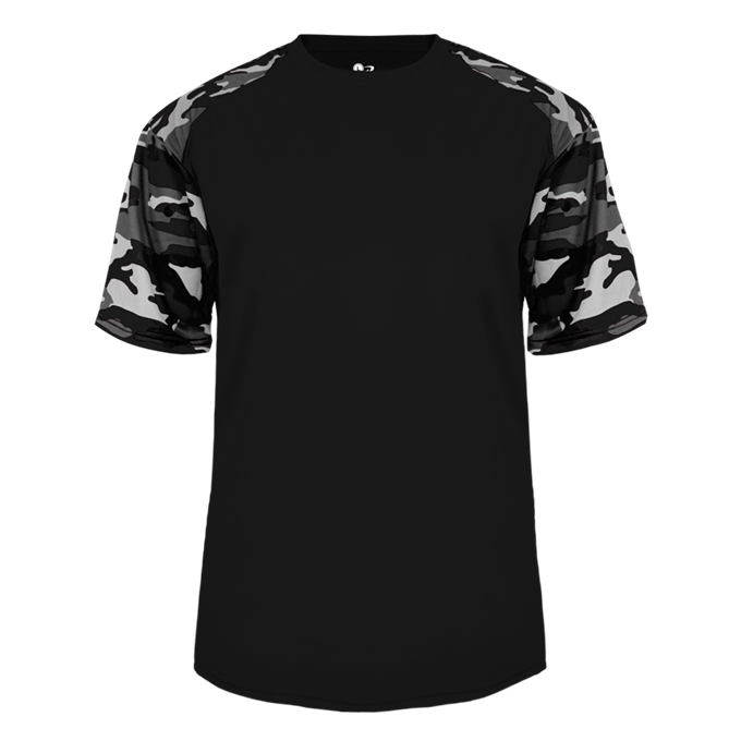 Black/White Badger 2141 Camo Sport Youth Tee