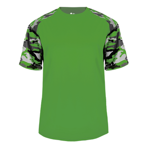 Lime/Lime Badger 2141 Camo Sport Youth Tee