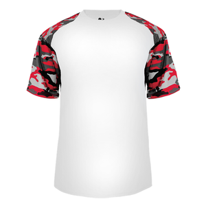 White/Red Badger 4141 Camo Sport Tee