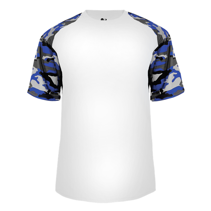 White/Royal Badger 4141 Camo Sport Tee
