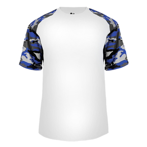 White/Royal Badger 2141 Camo Sport Youth Tee
