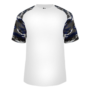 White/Navy Badger 4141 Camo Sport Tee