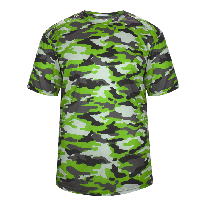 Lime Badger 2181 Camo Youth Tee