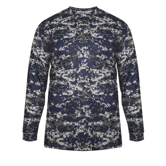 Navy Badger 4184 Digital Long Sleeve Tee