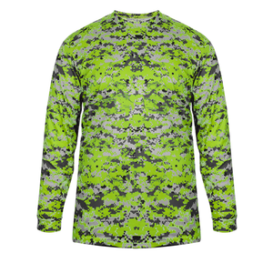 Lime Badger 2184 Digital Long Sleeve Youth Tee