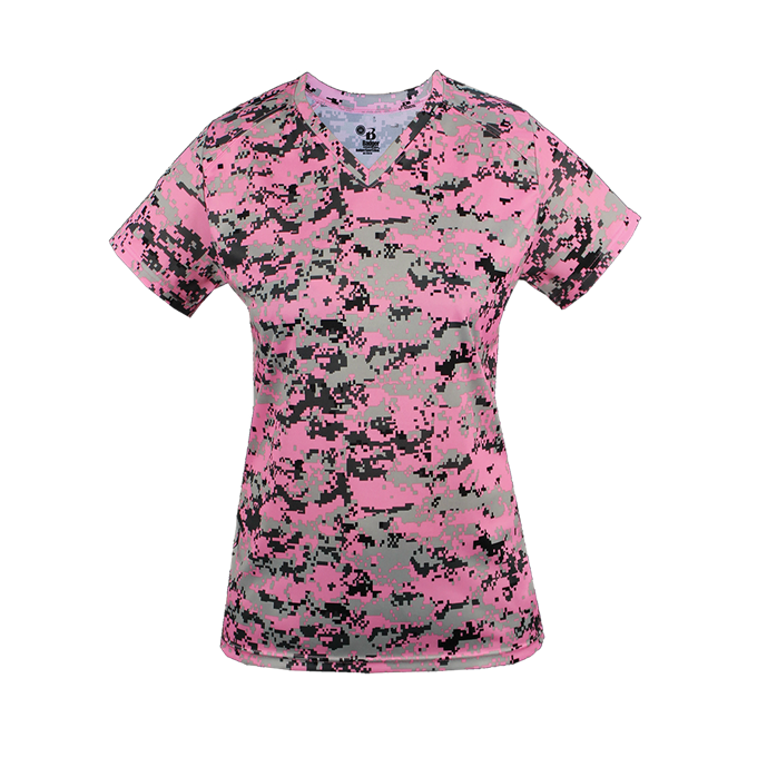 Pink Badger 4186 Digital Women's V-Neck Tee