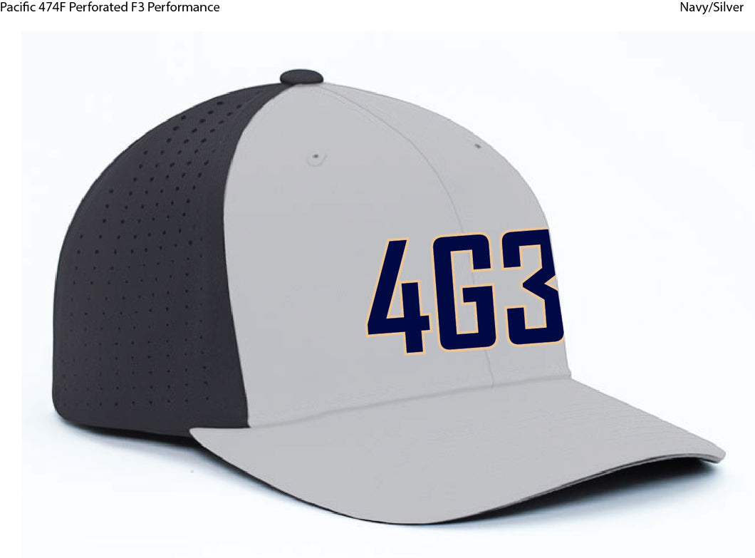 Perforated Navy/Silver Game Hat