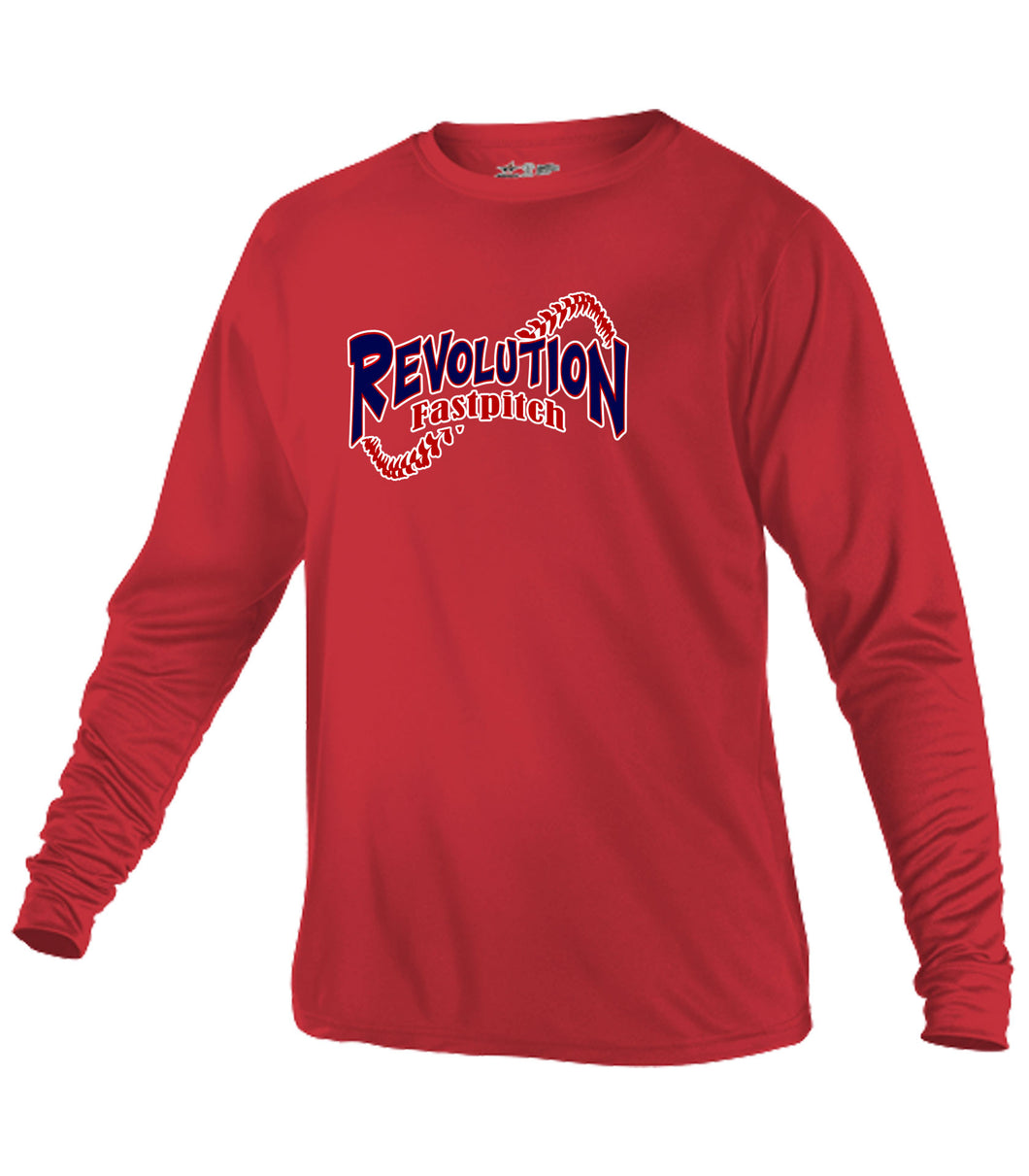 Red Tech Crew Neck Long Sleeve T-Shirt