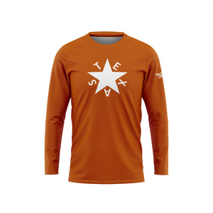 Burnt Orange First Republic of Texas Flag Long Sleeve Performance Tee