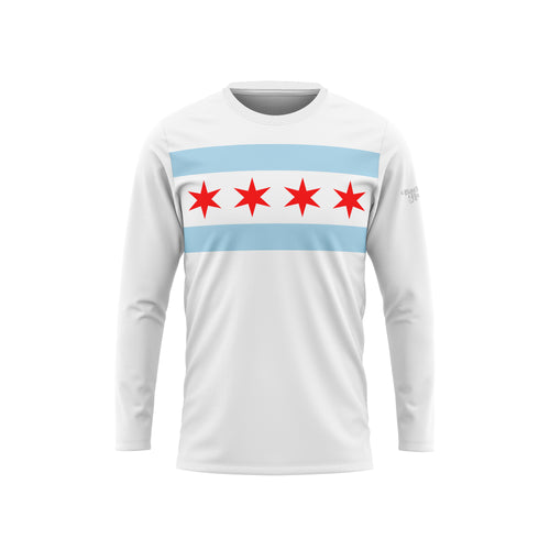 Chicago Flag Long Sleeve Performance Tee