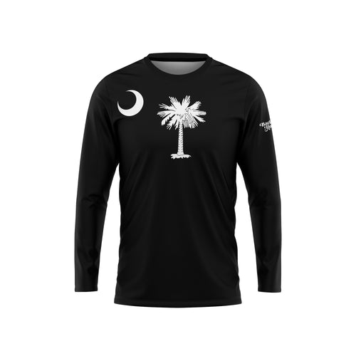 Black South Carolina Flag Long Sleeve Performance Tee