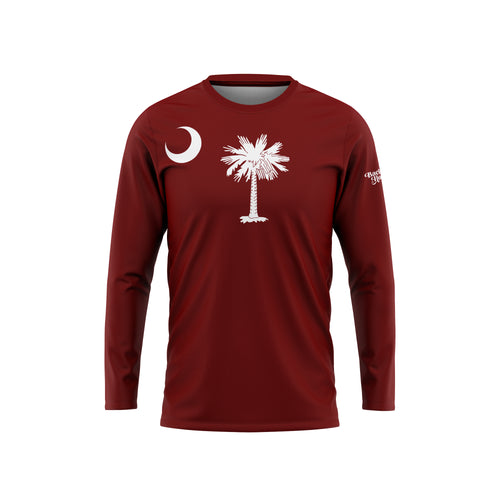 Garnet South Carolina Flag Long Sleeve Performance Tee