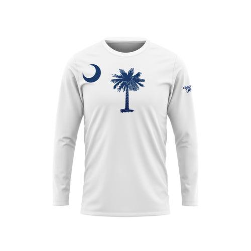 White South Carolina Flag Long Sleeve Performance Tee