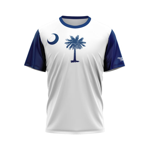 White-Navy South Carolina Flag Performance Tee