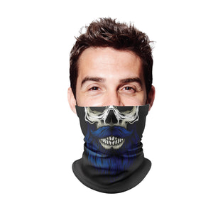 Blue Beard Skull Gaiter Face Mask