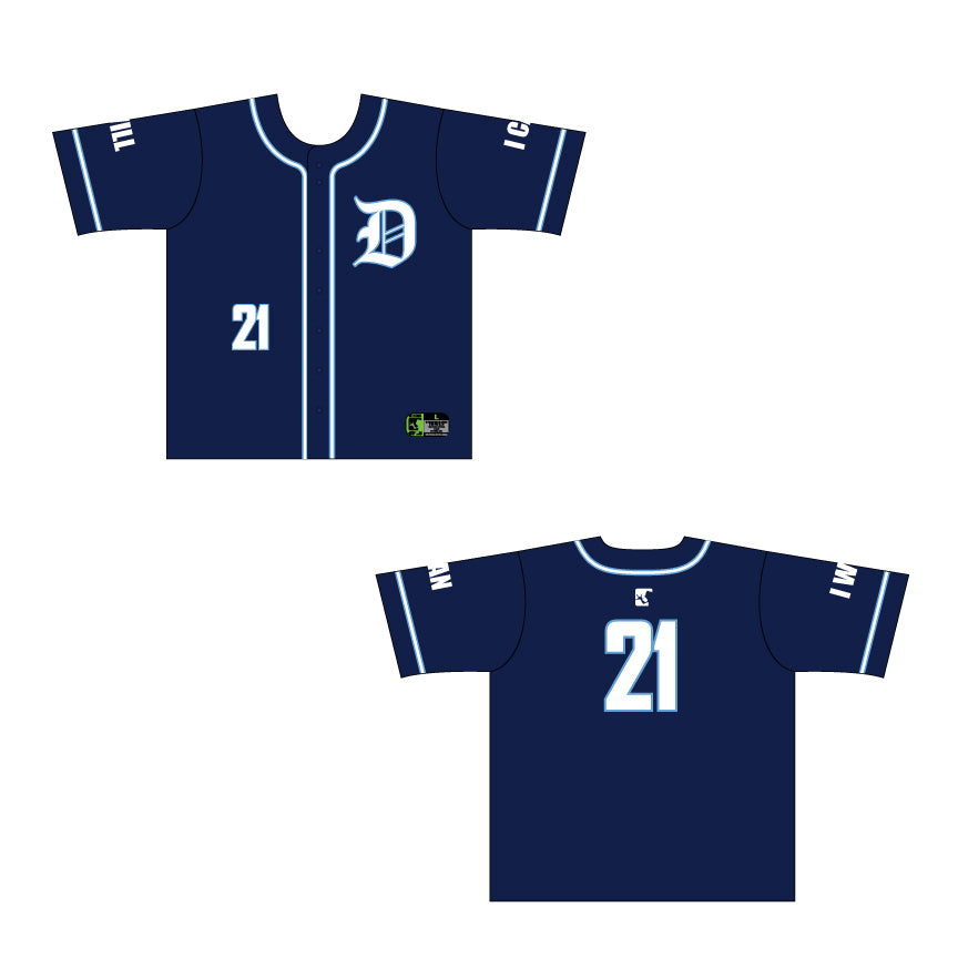 Navy Full Button Game Day Jersey