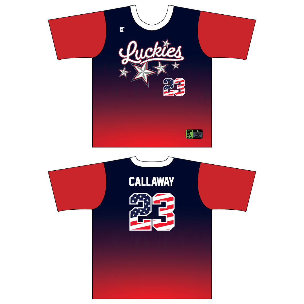Luckies Red Navy Jersey