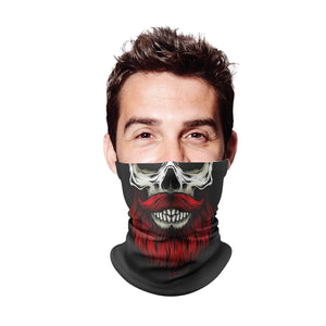 Red Beard Skull Gaiter Face Mask