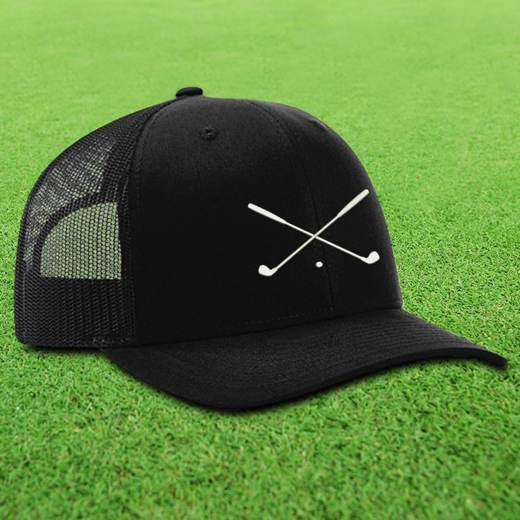 Crossed Golf Clubs Trucker Hat