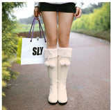 PU leather mid-calf snow boots with pom pom (2 colorways)