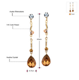 Water drop shaped Austria crystal with Czech rhinestone earrings