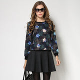 Printed floral ladies long sleeves sweater blouse
