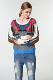 Wool knitted ladies geometric pattern sweater blouse (2 colorways)