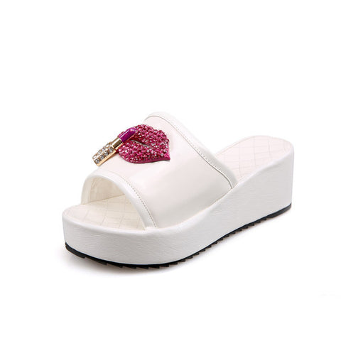 f459381f8ad Ladies Summer open toe wedge sandals with cute icon applique (2 ...