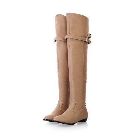 Horse riding style over knee long buckle ladies boots (3 colorways)