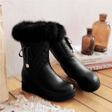 Ladies mid calf wedge boots with rabbit fur