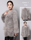 V-neck real wool fur knitted ladies coat
