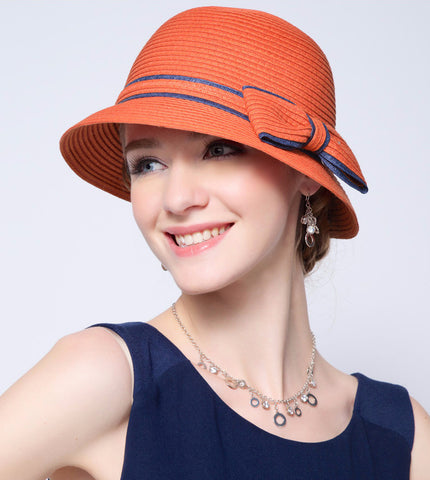 Ladies fedora straw hat with decorative bow tie (2 colorways)