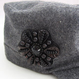 Wool knitted ladies Winter cap with beads in flower shape applique (2 colorways)