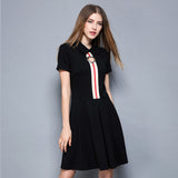 Center stripe with see thur metal eyelet casual dress