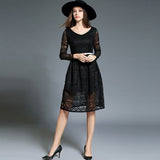 V-neck long sleeves lace dress with belt (3 colorways)
