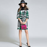 Three quarter sleeves patchwork wool dress (2 colorways)