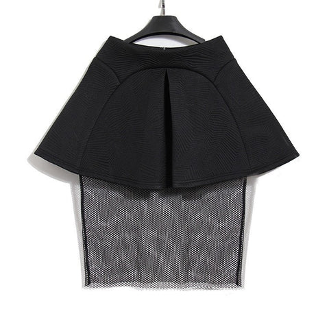Stereoscopic patchwork mesh high waist A-line ladies skirt